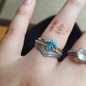 925 turquoise sterling silver ring set size 7